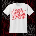 LETS GET ROWDY T SHIRT - WHITE & RED-0
