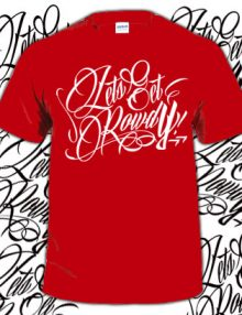 LETS GET ROWDY T SHIRT -RED & WHITE-0
