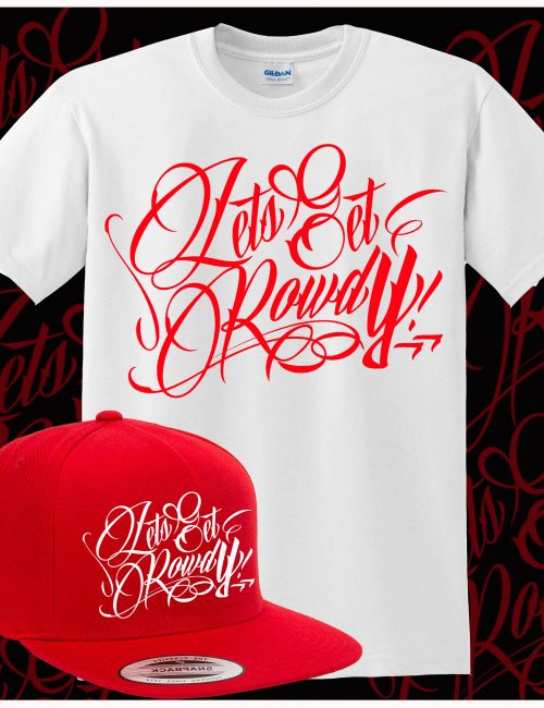 LETS GET ROWDY T SHIRT & SNAP BACK COMBO - RED & WHITE-0