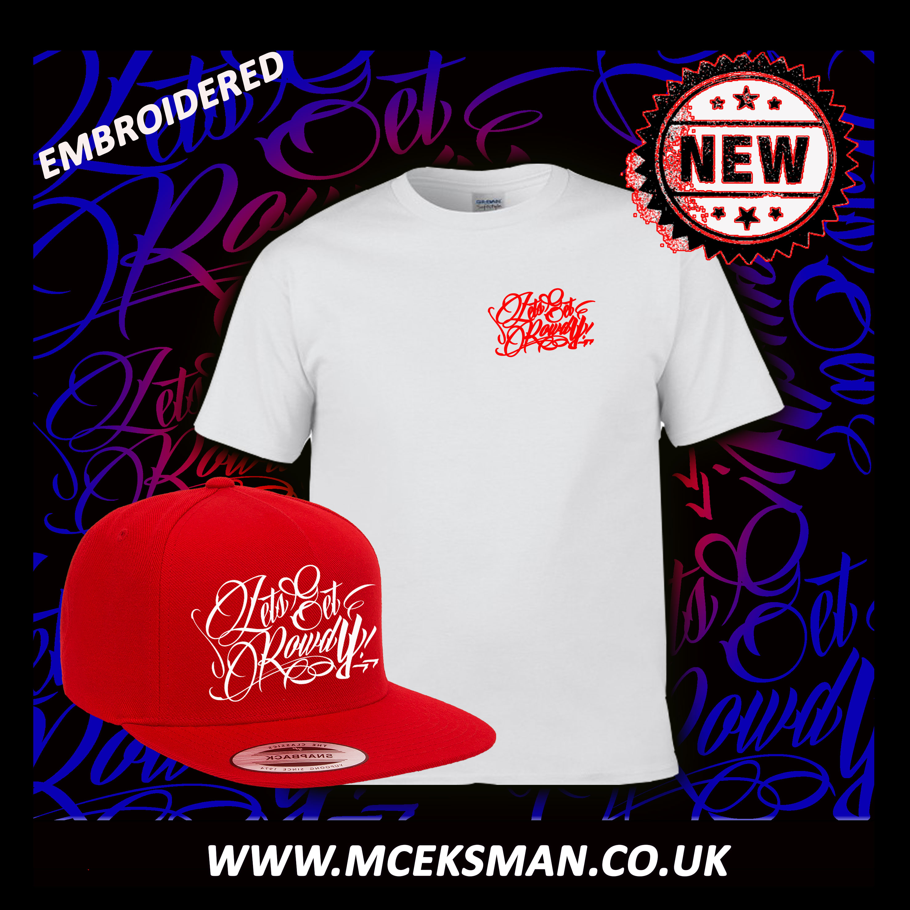 d0471d02973 LETS GET ROWDY RED EMBRODERED COMBO - MC Eksman Presents